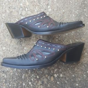 Cole Haan Western Boot Mule Black Studded 8.5